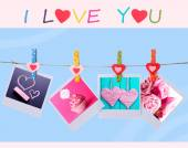 Photo cards hanging on the clothesline on blue background, Valentine's Day concept — Foto Stock