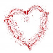Heart made of red paint splashes isolated on white — Stock Photo