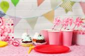 Birthday table for children party — Stock Photo