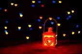 Romantic lantern on lights background, — Stock Photo