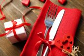 Festive table setting for Valentines Day — Stock Photo