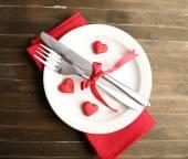 Regolazione festiva della tabella per San Valentino — Foto Stock