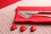 Festive table setting for Valentine Day — Stock fotografie