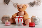 Teddy bear with candles, love concept — Stockfoto