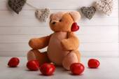 Teddy bear with hearts, love concept — Stockfoto