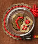 Feng shui coins on table close-up — Stock Photo