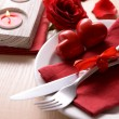 Festive table setting for Valentines Day on table background — Stock Photo #63462893