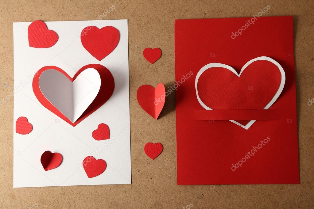 Beautiful Hand Made Post Cards With Paper Hearts On Color