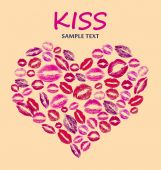 Print kisses shaped heart on beige background — Stock Photo