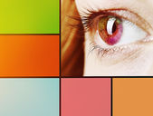 Collage of eye with color palette — Stockfoto