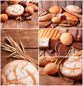 Bread assortment collage — Stock Photo