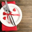 Table setting for Valentine Day — Stok fotoğraf #63534905