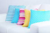 Sofa with colorful pillows — ストック写真