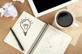 Symbol of idea as light bulb — Stock Photo