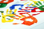 Hand prints of paint — Stock Photo
