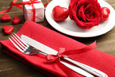 Table setting for Valentine Day — Stock Photo