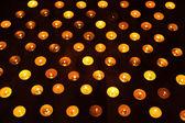 Burning candles on dark — Stock Photo