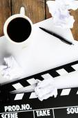 Movie clapper and cup — 图库照片