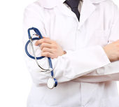 Male doctor with stethoscope isolated on white — Photo