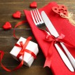 Festive table setting for Valentines Day — Stock Photo #63683533