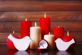 Burning candles for Valentine Day, weddings, events involving love — Stock Photo