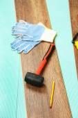 Carpenter tools on laminate floor — Fotografia Stock