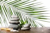 Spa stones with sea salt — Stock Photo