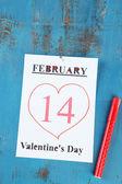 February 14 on calendar — Stock Photo