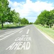 Text New Career Ahead with arrow marking on road surface — Stock Photo #63768323