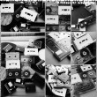 Collection of retro audio tapes and vinyl records in collage — Stock Photo #63768463