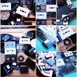 Collection of retro audio tapes and vinyl records in collage — Stock Photo #63768479