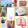 Outfit of woman clothes with different handbags and accessories in collage — Stock Photo #63768493