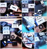 Collection of retro audio tapes and vinyl records in collage — Stock Photo
