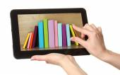 E-learning concept.  Digital library - books inside tablet isolated on white — Stock Photo