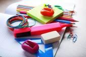 School supplies on desk, close-up — Foto Stock