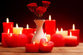 Romantic gift with candles, love concept — Stock Photo