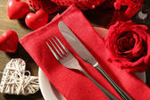 Festive table setting for Valentine Day — Stock Photo