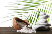 Still life of spa stones and coconut shell of sea salt on wooden surface with palm leaf isolated on white — Stock Photo