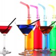 Colorful alcoholic beverages in glassware isolated on white — Stock Photo #63957889