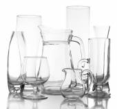 Different glassware isolated on white — Stock Photo