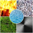 Collage of Feng Shui destructive cycle with five elements (water, wood, fire, earth, metal) — Stock Photo #64267277