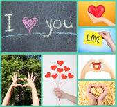 Koláž obrazů nějaké jiné srdce, láska koncepce — Stock fotografie