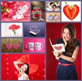 Valentine's Day photo collage — Foto Stock