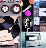 Vinyl records, audio cassettes, microphone and radio set in collage — Stock Photo