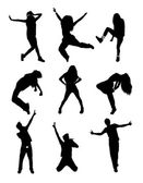 Silhouettes of dancing people isolated on white — Stock Photo
