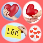Collage of some different hearts images, Love concept — Stock Photo