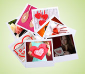 Valentine's Day photo cards collage on light green background — Stock Photo