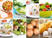 Healthy dishes and products in collage — Stock Photo