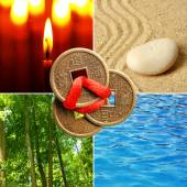 Collage of Feng Shui destructive cycle with five elements (water, wood, fire, earth, metal) — Stock Photo