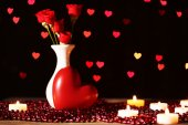 Romantic gift with candles on lights background, love concept — Foto de Stock